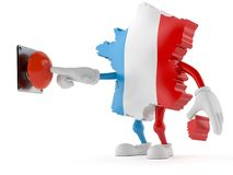 France character pushing a button. Isolated on white background. 3d illustration Royalty Free Stock Images