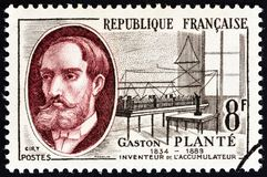 FRANCE - CIRCA 1957: A stamp printed in France from the `French Inventors` issue shows Gaston Plante and Accumulators, circa 1957