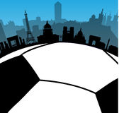 France cities skylines with  football ball. Vector France cities skylines with  football  ball Royalty Free Stock Photo