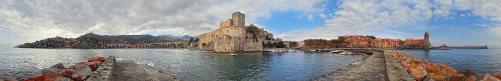 The ancient city of Collioure featuring the Château Royal stock photo