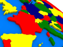 France on colorful 3D globe Stock Images