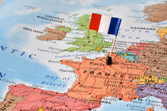 France flag on map, concept image - world hot spot royalty free stock image