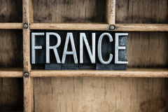 France Concept Metal Letterpress Word in Drawer Royalty Free Stock Photos