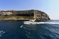 France, Corsica, Bonifacio,  luxury yacht Royalty Free Stock Photo