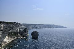 France, Corsica, Bonifacio rocky coastline Royalty Free Stock Photo