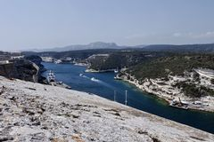 France, Corsica, Bonifacio, view of the port Royalty Free Stock Photography