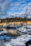 Port of Nice at Sunrise. France, Cote d`Azur, Nice city, boats and yachts in Port of Nice at sunrise Stock Image