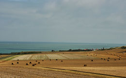 France cote dopale field. France cote dopale, landscape view on fields and sea Stock Photography