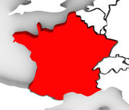France Country 3d Abstract Illustrated Map Europe. The country of France highlighted in red on an illustrated 3D map of Europe Royalty Free Stock Image