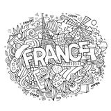 France country hand lettering and doodles elements Royalty Free Stock Image