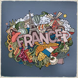France country hand lettering and doodles elements Stock Images