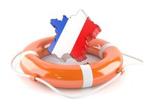 France country with life buoy. On white background Royalty Free Stock Photography
