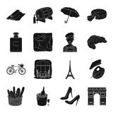 France country set icons in black style. Big collection of France country vector symbol stock illustration Royalty Free Stock Photography