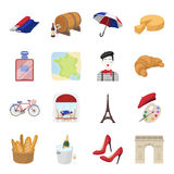France country set icons in cartoon style. Big collection of France country vector symbol stock illustration Royalty Free Stock Photos