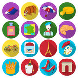 France country set icons in flat style. Big collection of France country vector symbol stock illustration Stock Photography