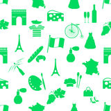 France country theme symbols and icons green seamless pattern eps10 Stock Images