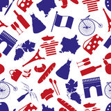 France country theme symbols seamless pattern Royalty Free Stock Photography