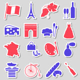 France country theme symbols stickers set eps10 Stock Photos