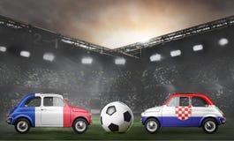 France and Croatia cars on football stadium Stock Images