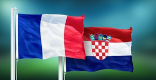 France - Croatia, FINAL of soccer World Cup, Russia 2018 National Flags Royalty Free Stock Images