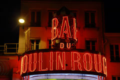 FRANCE-CULTURE-ENTERTAINMENT-MOULIN - ROUGE shows RED WINDMILL, Montmartre Paris - August 2015 Stock Photography
