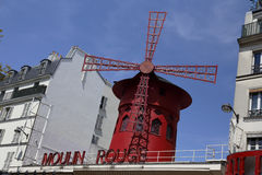 FRANCE-CULTURE-ENTERTAINMENT-MOULIN - ROUGE shows RED WINDMILL, Montmartre Paris - August 2015 Royalty Free Stock Image