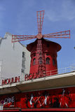 FRANCE-CULTURE-ENTERTAINMENT-MOULIN - ROUGE shows RED WINDMILL, Montmartre Paris - August 2015 Stock Image