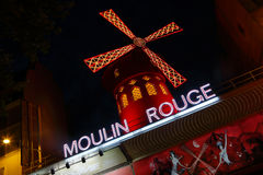 FRANCE-CULTURE-ENTERTAINMENT-MOULIN - ROUGE shows RED WINDMILL, Montmartre Paris - August 2015 Royalty Free Stock Photography