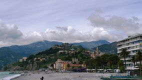 France descending waves in Nice after the storm Stock Photo