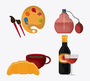 France design. food, perfum and palette icon.  graphic Royalty Free Stock Photos