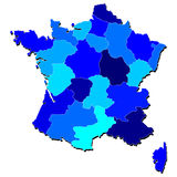 France Detailed Map in Shades of Blue Royalty Free Stock Photo