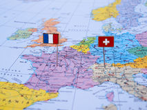 France e Switzerland no mapa Fotografia de Stock