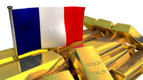 France economy concept with gold bullion Stock Photography