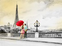 France, eiffel tower and couple young boys, woman. Paris European city landscape. France, Eiffel tower and couple young, man and woman red umbrella on the street Royalty Free Stock Photo