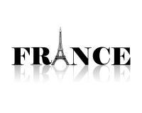 France Eiffel Tower Silhouette. France word with Eiffel Tower silhouette illustration Royalty Free Stock Photos