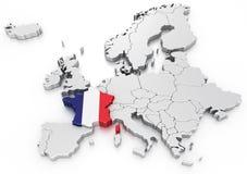 France em um euro- mapa Foto de Stock Royalty Free