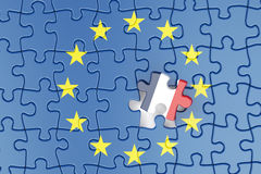 France and EU puzzles from flags, relation concept. 3d rendering Royalty Free Stock Images