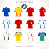France EURO 2016 Apparel Icons. France EURO 2016 Championship Infographic Qualified Soccer Players. Football Game Jersey Apparel flags of final participating Stock Image