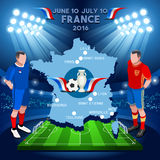 France 2016 Euro Championship. Football Game Infographic France 2016 European Championship Soccer Players. Jersey flags of final qualified countries. Europe Royalty Free Stock Photos