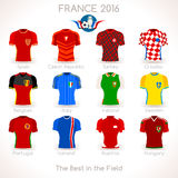 France EURO 2016 Jersey Icons. France EURO 2016 Championship Infographic Qualified Soccer Players. Football Game Jersey Apparel flags of final participating Stock Images