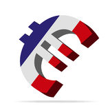 France Euro symbol. 3D Illustration of the Euro Symbol with Country Flag Royalty Free Stock Photo