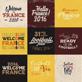 France europe Football typography labels, 2016 Soccer overlays, tournament logo. Championship, league Hand lettering. Retro design for presentations, brochures Royalty Free Stock Image