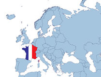 France on Europe map Royalty Free Stock Image