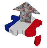 France euros arrow on map flag Royalty Free Stock Photography