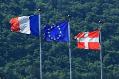 France Evropenian Union Savoy flags Royalty Free Stock Photography