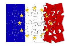 France Exit Europe - concept image in jigsaw puzzle shape.  Royalty Free Stock Photography