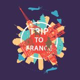 France famous landmark silhouette overlay style around text,vintage design vector illustration