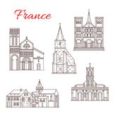 France travel landmarks vector buildings icons. France famous travel landmark buildings and architecture sightseeing line icons. Vector set of Saint-Michel Stock Photos