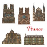France travel landmarks vector buildings icons. France famous travel landmark buildings and Marseilles architecture sightseeing line icons. Vector set or Saint Stock Photography
