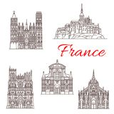 France travel landmarks vector buildings icons. France famous travel landmark buildings and Marseilles architecture sightseeing line icons. Vector set Saint Royalty Free Stock Photo